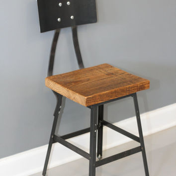 Set of 4 Reclaimed Wood Industrial Bar Stool w/ Steel Back - FREE SHIPPING - Industrial Modern - Salvaged Wood