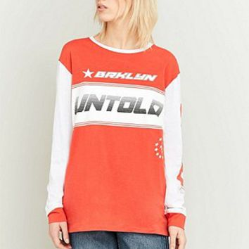 BDG Untold Red Colour Blocked Long Sleeve T-shirt - Urban Outfitters