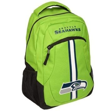 * Seattle Seahawks Action Backpack Back Pack School Book Gym Bag