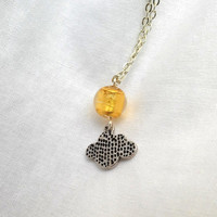 Sun and Cloud Necklace, Northern Sky Collection - Murano Glass Necklace, Gold foil bead with silver plated cloud necklace