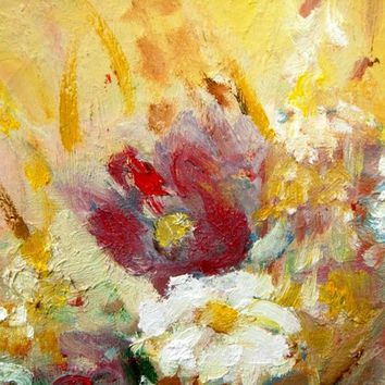 AUTUMN FIELDS FLOWERS- original modern abstract oil flower painting on canvas- 20x16 inches-framed