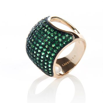 22ct Gold Vermeil Micro Pave Statement Cocktail  Cushion Ring - Emerald Green Zircon