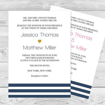 Wedding Invitation Template - Navy Stripes Printable Wedding Invitation - 5 x 7 Editable PDF Templates - Instant Download - DIY You Print