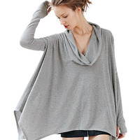 Grey Long Sleeve Cowl Neckline Poncho