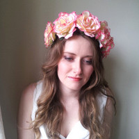 Floral flower crown / headpiece / headband / wreath with pink silk roses festival - 'Lethe'