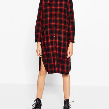 2016 Autumn Full Sleeve Shirts for Women Button-down Black Red Plaid Female Blouses BC8175-1109