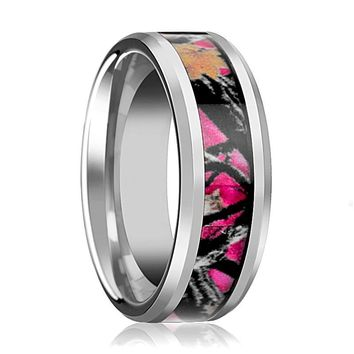 Tungsten Camo Ring - Pink Oak Leaves Camouflage - Tungsten Wedding Band - Beveled - Polished Finish - 6mm - 8mm - Tungsten Wedding Ring