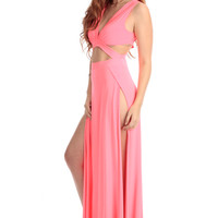 Neon Pink Roman Cut Out Maxi Dress