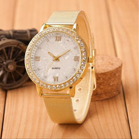Ladies Crystal Roman Numerals Gold Mesh Band Wrist Watch (Color: Gold) = 1956982980