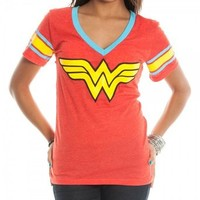 Dc Comics Wonder Woman Logo Juniors Deep V-neck Red T-shirt