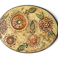 Floral textured mixed media art with peach flowers, sage green leaves and tiny butterflies, 3d wall decor