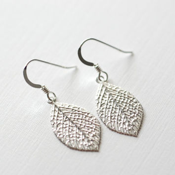 Sterling Silver Leaf Earrings - Silver Leaf Dangle Earrings, dainty jewelry by heirloomenvy