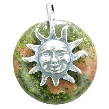 Positive Energy Happy Sun Spiritual Protection Amulet Lucky Donut Unakite Sterling Silver Pendant