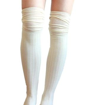 Slouch Top Boot Socks, Cream