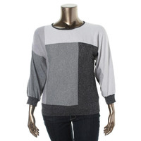 Alfred Dunner Womens Metallic Colorblock Pullover Sweater