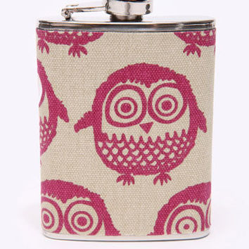 Urban Outfitters  - Hessian Owl Hip Flask