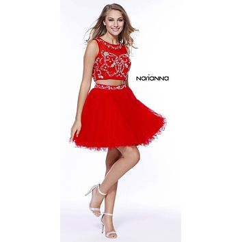 Red Two-Piece Short Prom Dress Illusion Neckline Cut Out Back