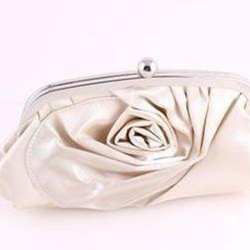 Solitary Ivory Rose Clutch Purse