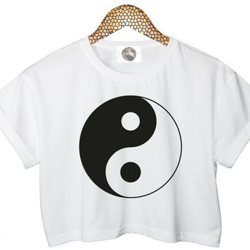 YIN YANG t shirt top tee crop tank vest paris hipster fashion grunge trendy swag dope cc womens glitter retro vtg peace hippie chic gold