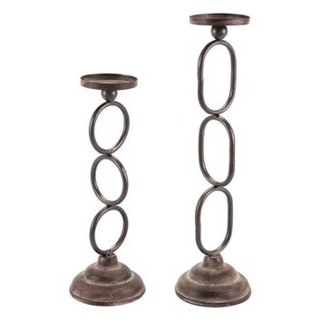 A10662 Set Of 2 Chain Candle Holders Antique