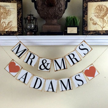 Mr and Mrs CUSTOM NAME Banner / Wedding Photo Props / Reception Banner
