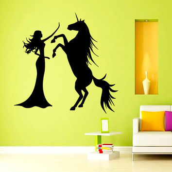 Wall Decals Girl With Unicorn Horse Home Vinyl Decal Sticker Kids Nursery Baby Room Decor kk281