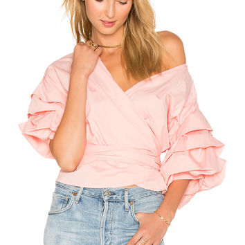 LIONESS Esmerelda Wrap Top in Blush