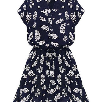Blue Leaf Print V-Neck Short Sleeve Blouson Chiffon Mini Dress