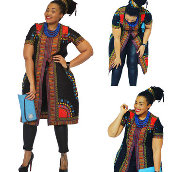 Black African Dashiki Print Front Slit Top