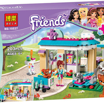 2016 New BELA 203pcs Friends 71085 Vet Clinic Building Blocks Sets Diy Bricks Educational toys Compatible Legoe Friends For Girl