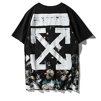 OFF WHITE Fashion Men Women Personality Fireworks Prin Short Sleeve T-Shirt Top