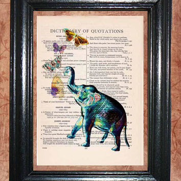 Wild Blue Elephant Blowing Butterflies - Vintage Dictionary Book Page Art Beautiful Upcycled Page Art Wall Decor Elephant Art Print