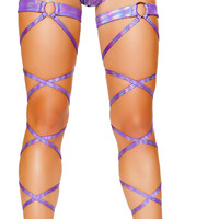 Light Purple Holographic O-Ring Leg Wraps