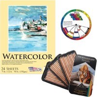 "Prismacolor 4066 Prismacolor Professional Quality Watercolor Pencil, 36 Assorted Colors/Set with US Art Supply 9""x12"" Watercolor Pad & Color Mixing Wheel"
