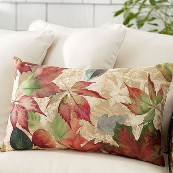 OUTDOOR WINDSWEPT LEAVES LUMBAR PILLOW