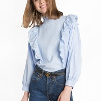Blue Eyelet Ruffled Mock Neck Top