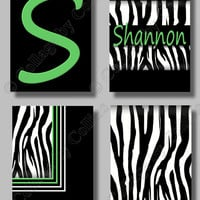 Personalized Zebra Wall Art Name Prints Girls Room Decor Teen Monogram Initial Custom Color
