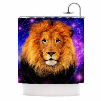 "NL Designs ""Space Lion"" Purple Orange Shower Curtain"