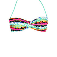 Ruched Bandeau - Pink Multi