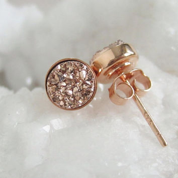 NEW Rose Gold Druzy Studs Tiny Titanium Drusy Quartz Earrings Rose Gold Vermeil Bezel Set