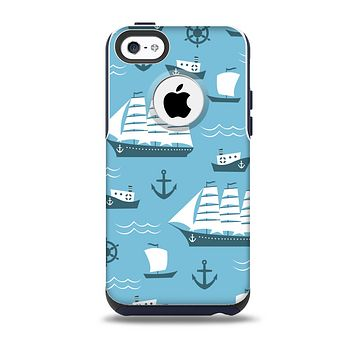 The Subtle Blue Ships and Anchors Skin for the iPhone 5c OtterBox Commuter Case