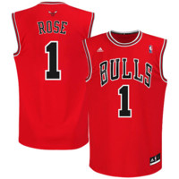 Derrick Rose Chicago Bulls adidas Replica Road Jersey - Red