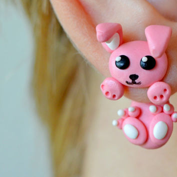 Bunny earrings,cute Kawaii earring,rabbit stud,double studed earrings,clinging earring,two part earrings,double side earring,front back stud