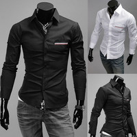 Designer Slim Fit Men Fashion Dress Shirt