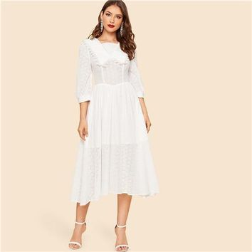 White Vintage Collar Square Neck Lace Eyelet Solid Long Dress