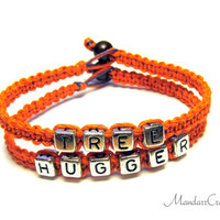 Bracelets for Tree Huggers, Atomic Orange Hemp Jewelry, Environmentalists