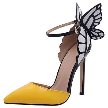 Fashion Wing Decoration Strapy High Heels