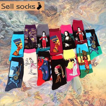 2016 Spring style Retro Art Oil Painting men sock women socks cotton Men's Socks 1 pair EUR36-43