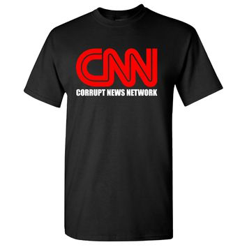 CNN Corrupt News Network on a Black T Shirt
