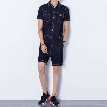 ICIKON3 men denim shorts jumpsuits rompers harem shorts zippercasual jeans jumpsuits slim fit shorts overalls 051801